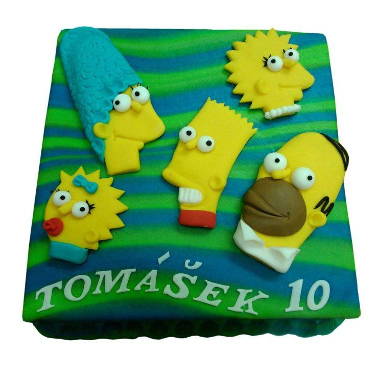Čtvercový dort se Simpsny