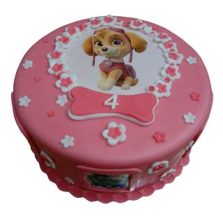 Růžový dort s obrázky vyšší