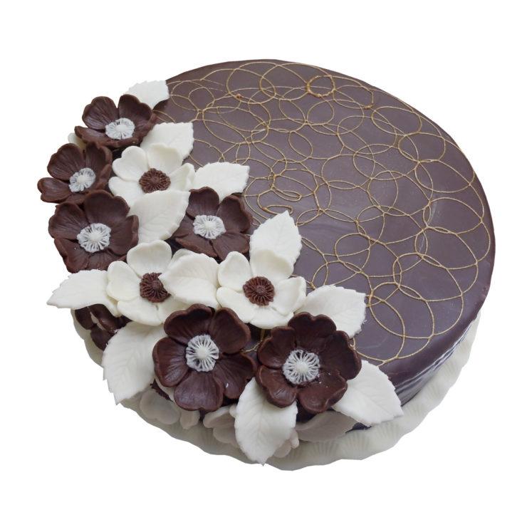 Hnědo-bílý dort