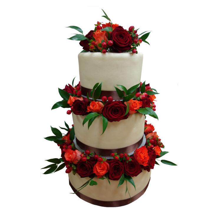 Patrový vyšší dort s živými růžemi