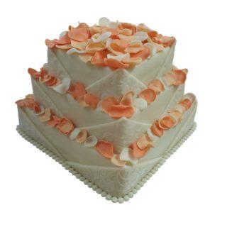 Patrový čtvercový vyšší dort s okvětními lístky růží