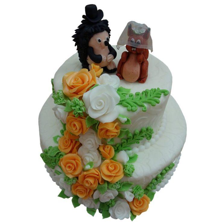 Patrový vyšší dort s veverkou a ježkem