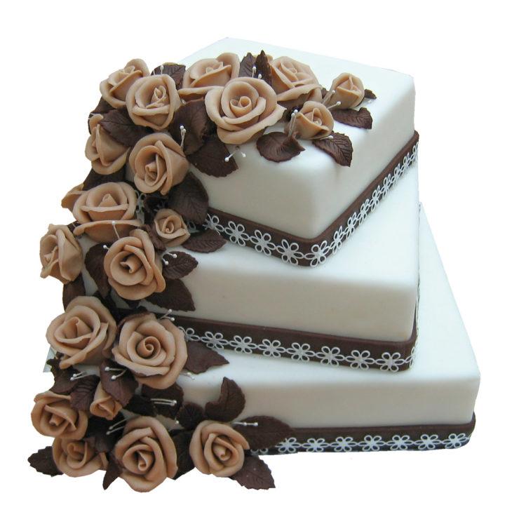 Patrový čtvercový dort s kaskádou růží