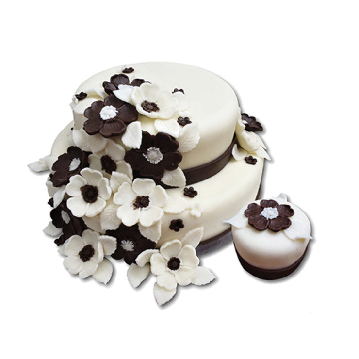 Patrový  hnědo-bílý dort se šípkovými růžemi