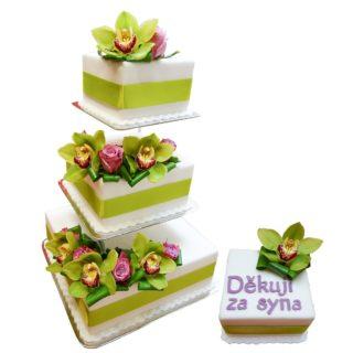 Patrový čtvercový vyšší dort s orchidejemi