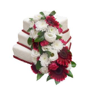 Patrový čtvercový dort s živými květy