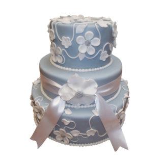 Patrový vyšší  dort s bílými květy