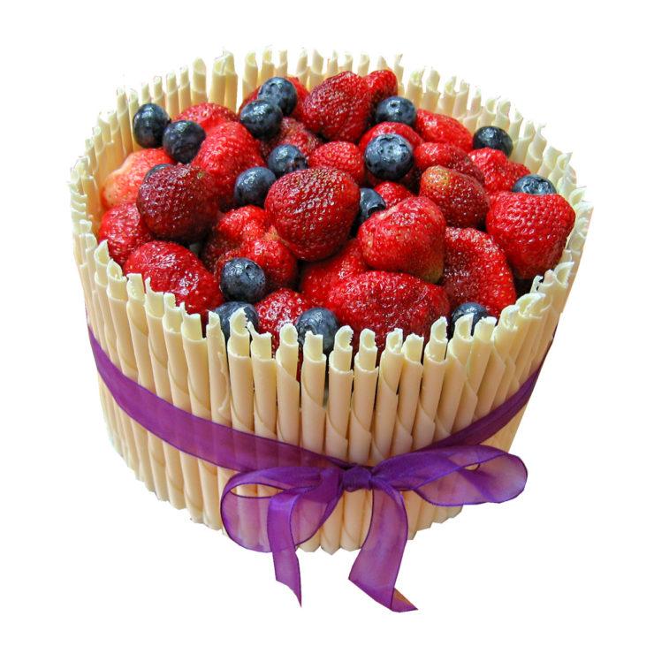 Děkovný dortík s čokoládovými trubičkami