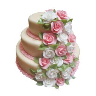 Patrový dort s kaskádou růží