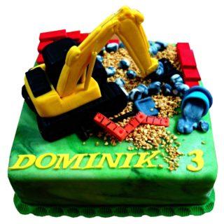 Čtvercový dort s bagrem